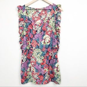 Anthropologie Lil Floral Ruffle Tunic Top Blouse